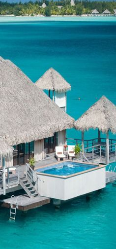 Water bungalow at Bora Bora. St Regis Hotel in Bora Bora, French Polynesia
