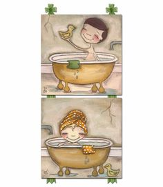 Bath Time Fun Girl Canvas Reproduction  Available at Rosenberry Rooms  (click on image to shop)