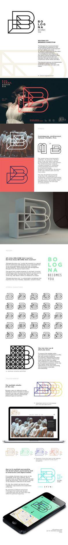 Bologna City Branding . inspiration . logo . outline. geometrical . grid . flexible . adaptable . nice presentation