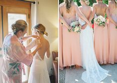 Gorgeous Vineyard Wedding With Boho Flair - Wilkie: Peach bridesmaid dresses pair perfectly with the lace long sleeve dress the bride chose!