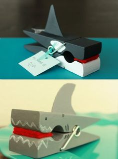 Clothespin sharks and killer whales.  Party favors for fish party?