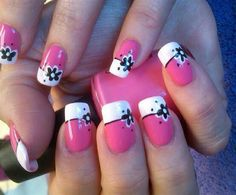 Pink/white french with black flowers