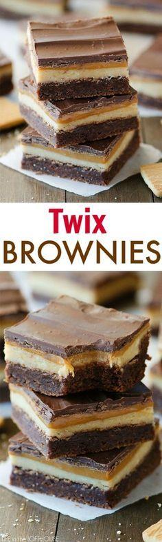twix brownies, dessert, chocolate, caramel is part of Desserts - Brownie Desserts, Brownie Recipes, Easy Desserts, Cookie Recipes, Dessert Recipes, Dessert Bars, Bar Recipes, Health Desserts, Baking Desserts
