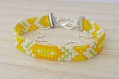 Verano moda pulsera amarillo pulsera de telar de abalorios de