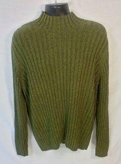 Express Green Ribbed LS Semi Turtleneck Sweater Cotton Sz XL #Express #Turtleneck