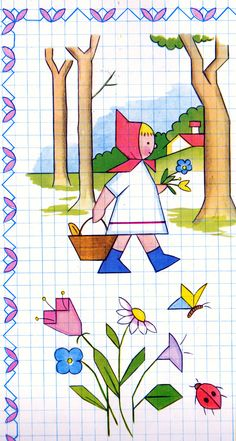Little Red Riding Hood - Chaperon Rouge - In Italy, when I was a child, n-years ago, we used these beautiful books full of nice drawings, which we easily copied on squared pages. The same in your countries? Graph Paper Drawings, Graph Paper Art, Easy Drawings, Drawing Lessons, Art Lessons, Mandala Art Lesson, Blackwork Embroidery, Graph Design, Cute Fonts