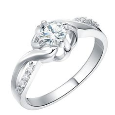 18k Gold Plated White Gold Finish Cute CZ Promise / Wedding Ring Sz 4.5-10