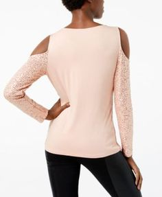 INC Petite Sequin Cold-Shoulder Top, Created for Macy's - Red P/XL