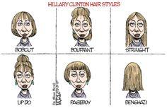 Clinton hair styles. Jim Morin on GoComics.com #Humor #Benghazi #Comics #Clinton #Politics