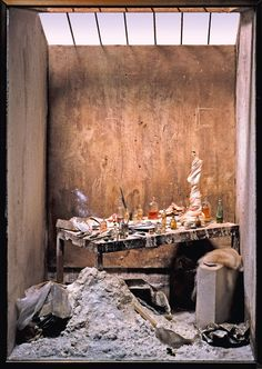 Miniature interior by Parisian artist Charles Matton of Alberto Giacometti studio on exhibit in London, 2013.