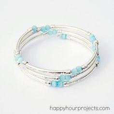 DIY Memory Wire Tube Bead Bracelet DIY Jewelry DIY Bracelet