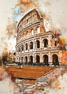Rome in Watercolor poster by from collection. By buying 1 Displate, you plant 1 tree. Watercolor Paintings Nature, Watercolor City, Watercolor Background, Watercolor Illustration, Simple Watercolor, Tattoo Watercolor, Watercolor Animals, Watercolor Flowers, Watercolor Portraits