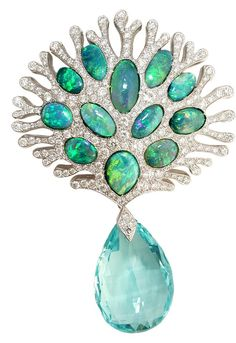 Aqua Teardrop set in Platinum with Opals. Mathon Paris.
