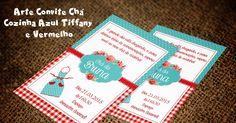Arte Convite Chá Cozinha Azul Tiffany e Vermelho