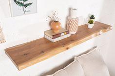 Dizajnová polica na stenu z masívneho dreva 115cm. Wood Wall Shelf, Wooden Shelves, Wall Shelves, Living Room Modern, Living Room Designs, Living Room Decor, Modern Wall, Floating Nightstand, Floating Shelves