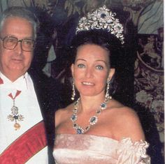 Diane, Duchess of Wurttemberg, daughter-in-law to Rosa, wearing the massive sapphire tiara, for a wedding.