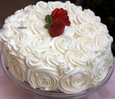 Risultati immagini per decoracion de tortas faciles Cake Frosting Recipe, Frosting Recipes, Food Cakes, Cupcake Cakes, Cookie Dough Cake, Rosette Cake, Cakes For Women, Best Cake Recipes, Dream Cake