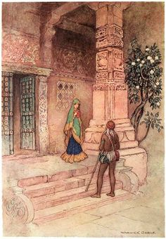 """The Suo queen went to the door with a handful of rice"", ill. 2, pg 1 from Warwick Goble: Folktales of Bengal, 1912"