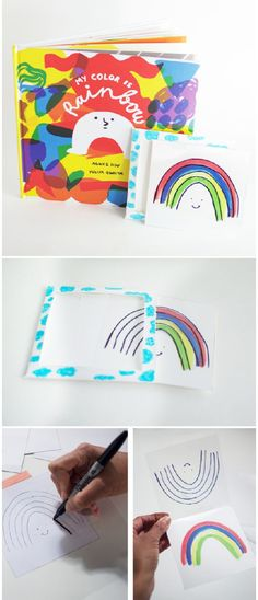 Rainbow Magic Card Trick. Make this fun card with kids that makes a rainbow magically appear. Inspired by My Color Is Rainbow kids book.