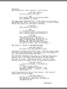 1/2 Kylo Ren and Rey Interrogations scene from the official The Force Awakens script