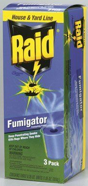 Raid Fumigator Triple-3ct by Raid. $14.99. Raid Fumigator fumigating fogger creates a deep-penetrating fog that flushes bugs out from where th. No oily residue and a fresh scent. The fog stays in the air for 3 hours treatment. 3pk bug fumigator. When activated it fills the room with a dry, white cloud of fog. Raid Fumigator TripleRaid Fumigator works just like Raid's popular foggers, only this one leaves behind a fresh scent! Simply prepare area you would like to fog...