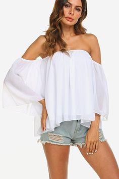 a2984277cb4a05 Off Shoulder Tops, Off Shoulder Blouse, Ruffle Shorts, Casual T Shirts, Summer  Tops, Ss, Summer Tank Tops