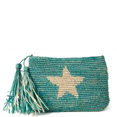 Hand crocheted zip pouch pares perfectly with your larger Summer tote as a go-to-wallet or cosmetic pouch or stands on it's own as a main clutch. Design includes a fun raffia tassel,and cotton lining. Modern Crochet Patterns, Crochet Stitches Patterns, Crochet Clutch, Crochet Purses, Tapestry Bag, Tapestry Crochet, Boho Bags, Fabric Bags, Knitted Bags