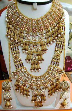 AD Necklace Bangle Rings Diamond Kundan Bridal Set.12