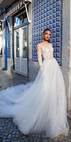 Milla Nova 2018 Wedding Dresses Collection ❤️ A-line illusion lace bodice with long sleeves wedding dresses by Milla Nova #weddingforward#bride#wedding#millanova#weddingdress