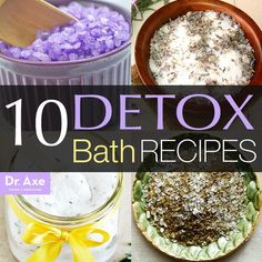 10 Detox Bath Recipes| Try one of these 10 homemade recipes. They'll help your body get back into tip-top shape in no time. I recommend doing a bath for about 40 minutes to an hour for best results. The first 20 minutes will give your body time to remove toxins from your system while the last 20 to 40 minutes will allow you to absorb the minerals in the water and help you emerge from the bath feeling rejuvenated.