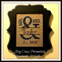 Personalized Wedding Gift - Wall Decor - Anniversary Gift - Burlap Mr. and Mrs.