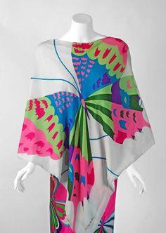 1970's Hanae Mori Psychedelic Butterflies Print Silk Kimono Blouse & Pants image 2