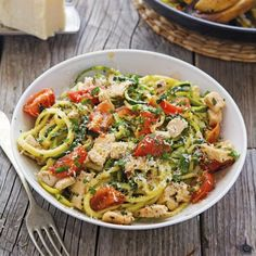 Lemon Garlic Chicken Zoodles - A delicious 30-minute healthy meal made start-to-finish in one skillet!