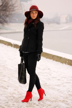 Black Coat. Black Pants. Red Shoes. Red Hat. #PopofColor #Winter