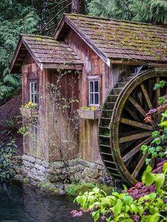 Old Grist Mill Garden Waterwheel Beautiful Buildings, Beautiful Landscapes, Beautiful Places, Old Grist Mill, Water Powers, Water Mill, Country Scenes, Old Barns, Le Moulin