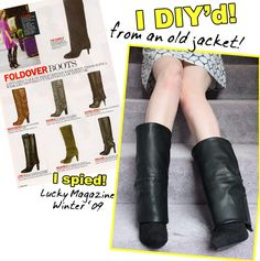 DIY boot covers! How to Make a Pair of Boot Covers from a Leather Jacket