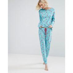 Chelsea Peers Unicorn & Rainbows Long Pyjama Set (290 HRK) ❤ liked on  Polyvore