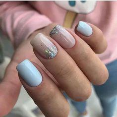 Simple Gel Nails, Cute Gel Nails, Short Gel Nails, Cute Acrylic Nails, Pink Nails, Baby Blue Nails, Shellac Nails Fall, Nail Manicure, Manicure Ideas