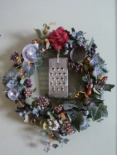 Wreath I Made For My Kitchen With Old Kitchen Utensils