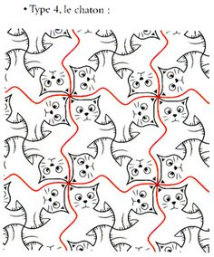 Illustration from Alain Nicolas' Lesson about Tessellation with a Cat Motif