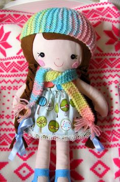 Rainbow Knitted Beanie Set for your dolls  by GizusDollWorld, $6.00