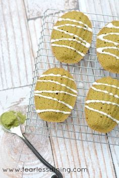 Gluten free dairy free matcha green tea Madeleines are French cakes that are light and fluffy. Matcha gives these cookies a delicious flavor.