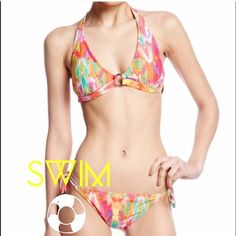 "Bikini Electric Ikat 2pc bathing suit!!! Top Fits sizes 6-8; Bust Size 35""-36""; Cup Size B/C and Bottoms fit hip size 35""-36"". See picture #3 for additional details! No Trades No Paypal Swim Systems Swim Bikinis"