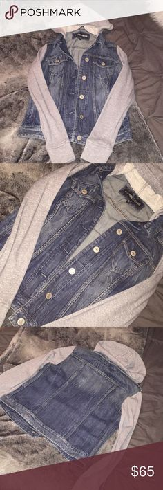 Express Hooded Jean Jacket Super cute dark wash denim jean jacket with grey sleeves/hood—perfect for casual days ! Express Jackets & Coats Jean Jackets