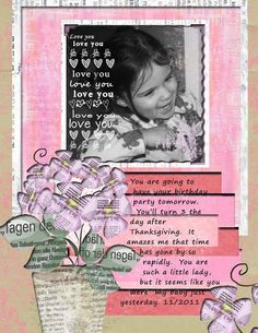 scrapbook : I like the writing over multiple pages and the flower out of newspaper cut outs