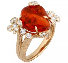 Lava ring from Yael Designs in 18k rose gold with 5.92 ct. fire opal and 0.52 ct. t.w. diamonds, $6,453