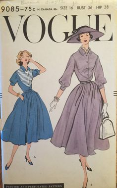 "VTG 9085 Vogue (1957) one piece dress.  Size 16, Bust 36"".  Complete, unused, FF. Excellent condition. by ThePatternParlor on Etsy"