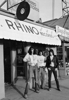 """superseventies:  The Ramones with Harold Bronson, co-founder of Rhino Records on Westwood Blvd in 1977. Photo by Jenny Lens  """