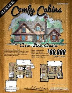 The Cow Lick Cabin 1525 SF, 3 BR, 3 BA 540 SF Outdoor Living   Natural Element Homes #ComfyCabins #BlackLabel