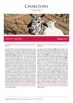 Myanmar Highlights - 27 October 2015 - World Bank forecasts drop in Myanmar's economic growth